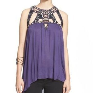 Free People Vision Quest Tank Top XS Embellished